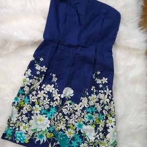 Floral print navy Strapless dress summer fall cute
